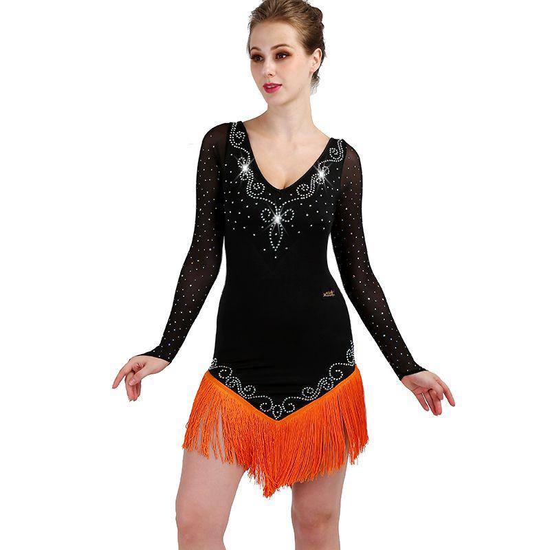 Tassel Latin Dance Dress Clothing Salsa Costume Ballroom Competition Skirt//3