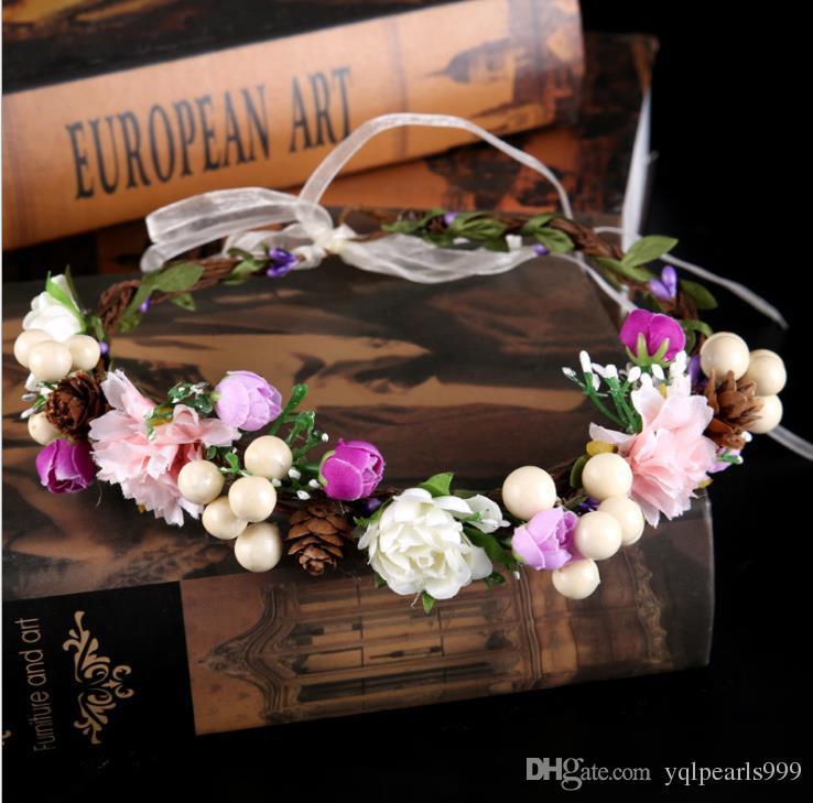 Gelin düğün çiçek çelenk headdress kafa halka hoop simülasyon aksesuarları