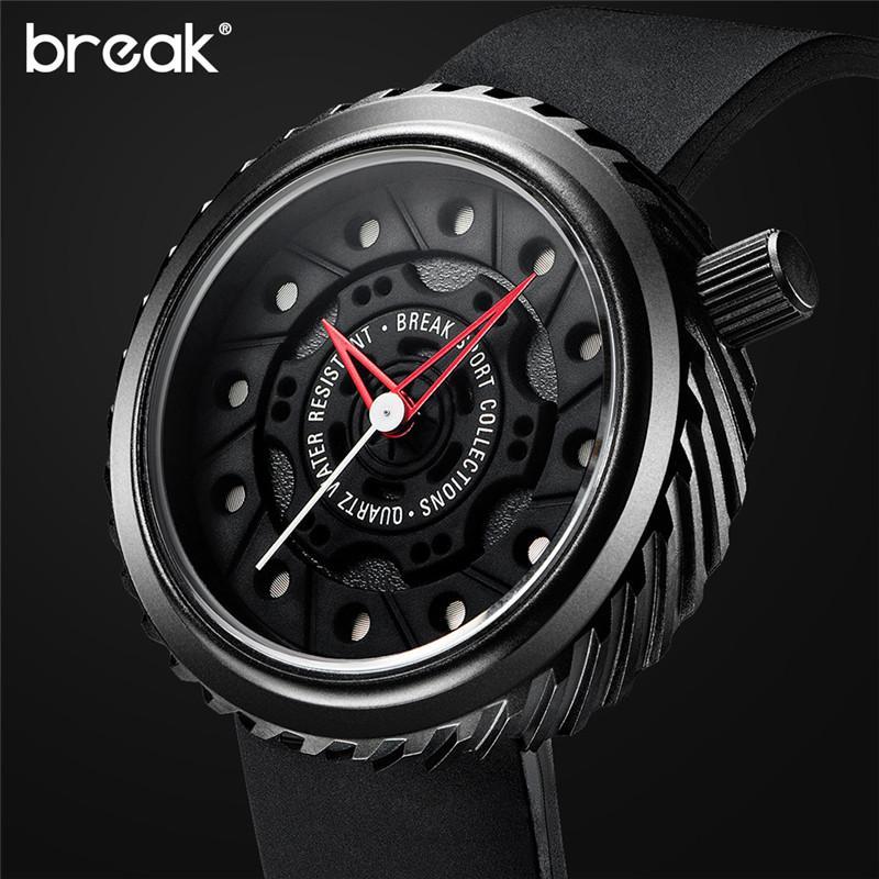 BREAK ساعات رجالي الأعلى الرياضة ووتش اليابان MIYOTA سيليكون حزام ساعة الرجال كوارتز ساعات عادية الإبداعية ساعة اليد
