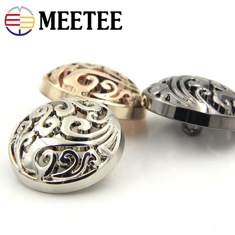 Meetee Metal Buttons 15mm-25mm Hollow Shank Button for Men Women Children Garment Shirt Coat Button Sewing Accessories D7-3