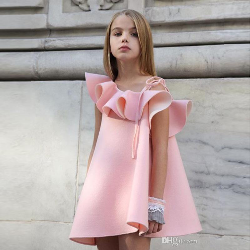 Kleinkind-Baby-Kind-Mädchen-Mode-Kleid-Bügel weg von der Schulter Rüschenkleid Sommer-Rock-T-Shirts, Tops Outfit