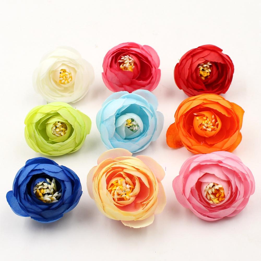 100 pcs De Seda Pequeno Chá Bud Artificial Flores Para O Casamento Decoração de Casa Artesanais Flores Pano Chapéu Acessórios Artesanato Flores