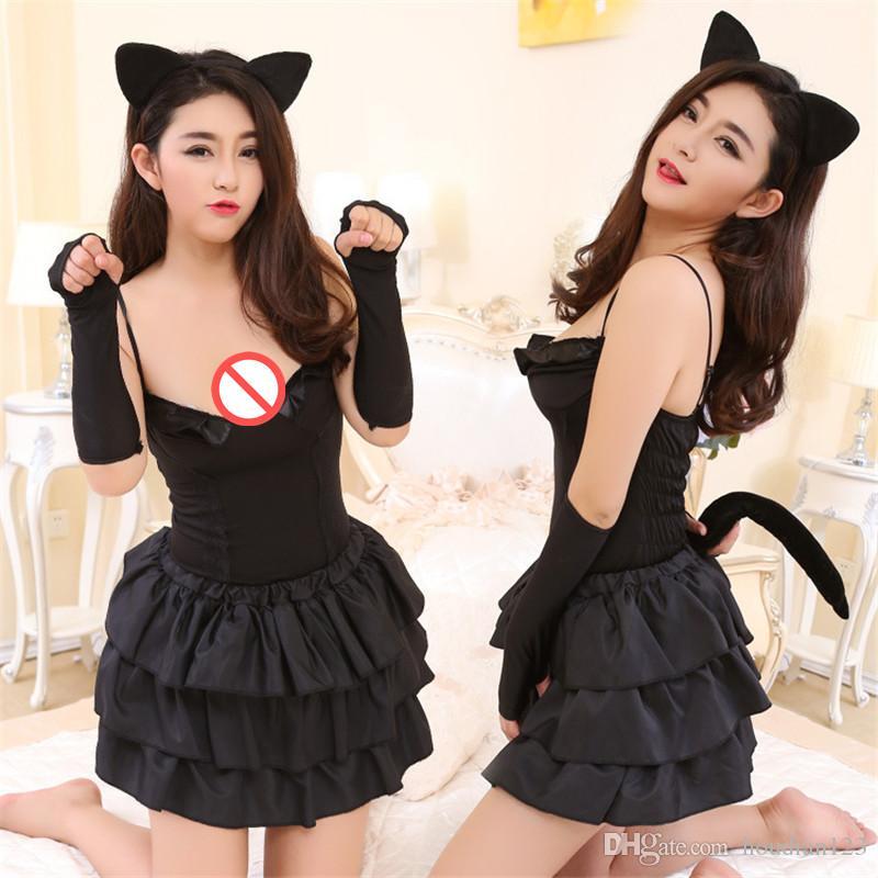 أسود إغراء القط المرأة الموحدة لعبة الأرنب مثير الملابس الداخلية فستان مثير الأرنب دور لعب زوجين اللعوب الجنس لعب الكبار