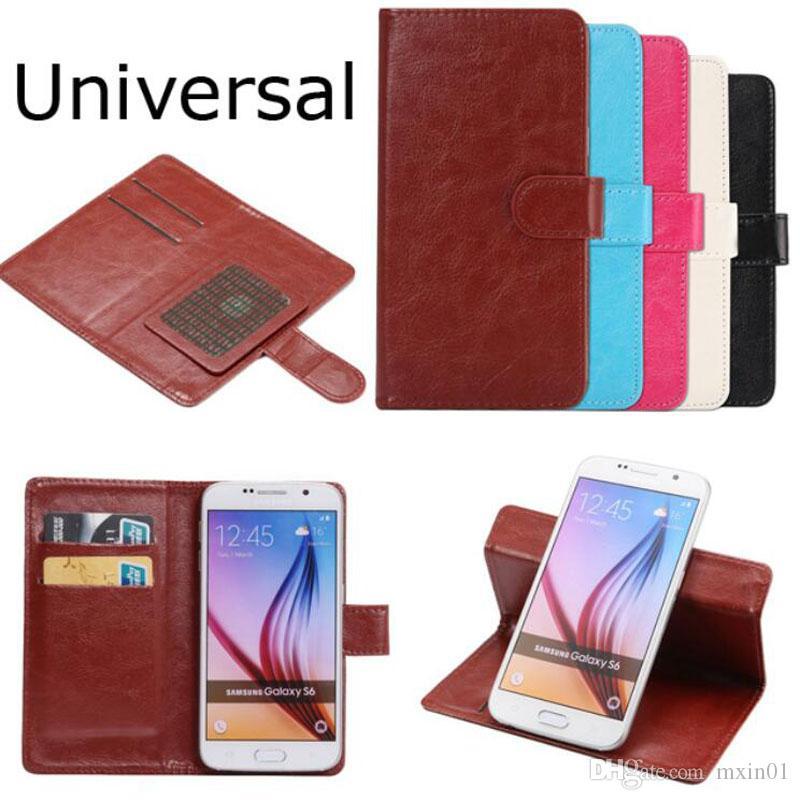 Universal caballo loco 360 Rotación de la carpeta del teléfono del cuero del tirón de la PU para iPhone 3.8 6.3 pulgadas de Samsung LG HTC Nokia Sony Huawei XIAOMI Alcatel