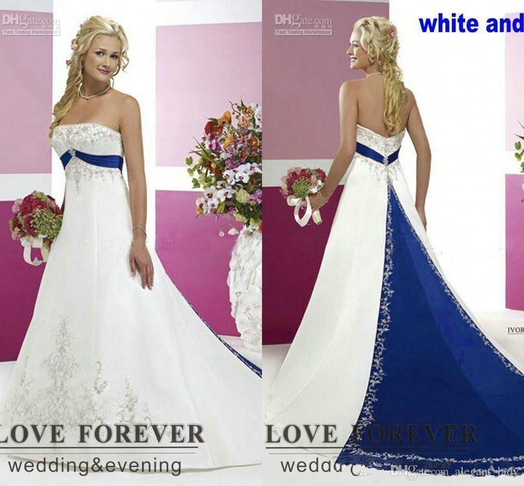 Plus Size strapless lace-up corset Wedding Dresses Silver Embroidery On Satin White and Royal Blue Floor Length Bridal Gowns Custom Made