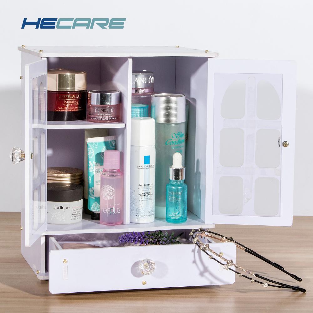 2018 Nova caixa de organizador de maquiagem de plástico / PVC rosa e branco Caixa de armazenamento de Desktop ecológica para caixa de brinquedos de organizador cosmético branco