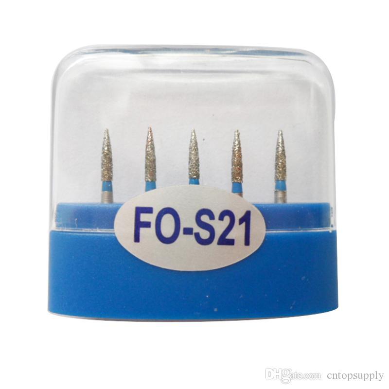 1 paquete (5 piezas) FO-S21 Dental Diamond Burs Medium FG 1.6M para pieza de mano de alta velocidad dental Muchos modelos disponibles