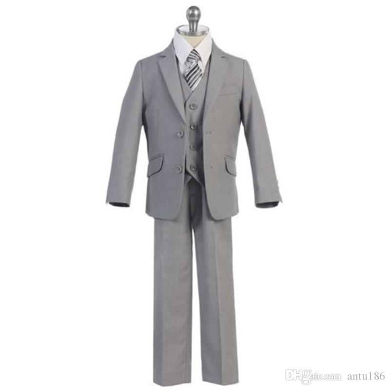 Özel gri tek göğüslü erkek takım elbise üç parçalı takım (ceket + pantolon + yelek) erkek dans parti elbise çocuk mezuniyet töreni elbise