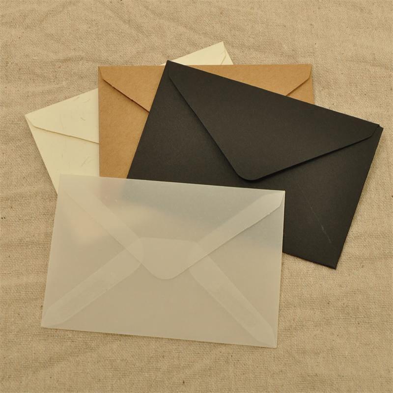 50pcs / lot 10 * 7cm Mini Sac de carte bancaire Petite enveloppe Carte Invitation de carte bancaire Enveloppe translucide Acide sulfurique Pack Pack Sac