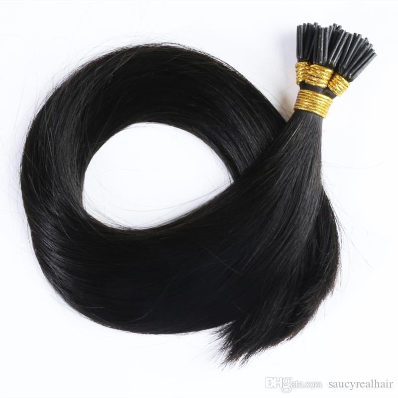 Stick I Tip Cabello humano Color oscuro Color marrón 12-24 pulgadas Extensiones de cabello de queratina recta de Malasia 1g s 300g Lote de cabello, DHL gratis