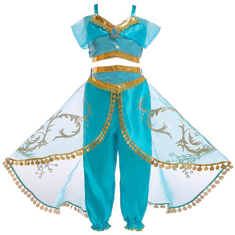 Arabian Princess Dress up Traje para As Meninas Vestidos de Verão Sem Mangas de Paetês Jasmim Cosplay Clothing sets Halloween Fantasia
