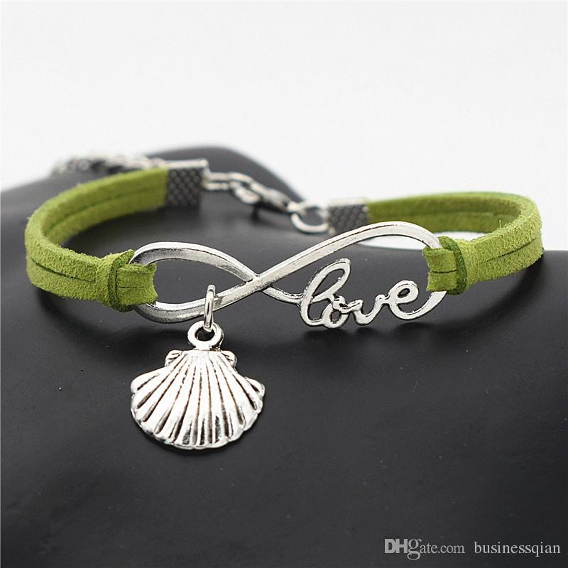 Green Leather Suede Infinity Love Sea Shell Conch Seashell Charm Bracelets & Bangles Fashion Decoration Build You Own Jewelry For Men Women