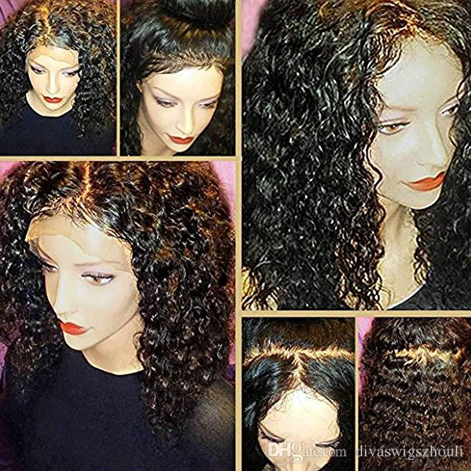 Ponytail 360 Lace Frontal 180% Density Brazilian Virgin Water Wave Human Hair Wigs For Black Women With Baby Hair 14 inch,Natural Color