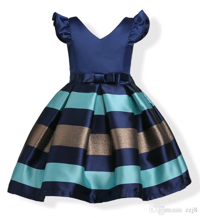 Compre Moda Puff Sleeves Mix Color Stripe Jacquard Vestido De Fiesta Para Niñas Wedding Satin Europe Y American Princess Dresses Fit 3 10 Años Niños A