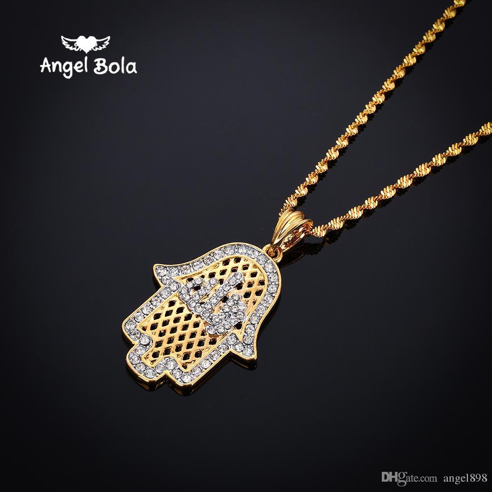 Angel bola Fatima Mão Evil Eye Colares Pingentes Árabe Muçulmano