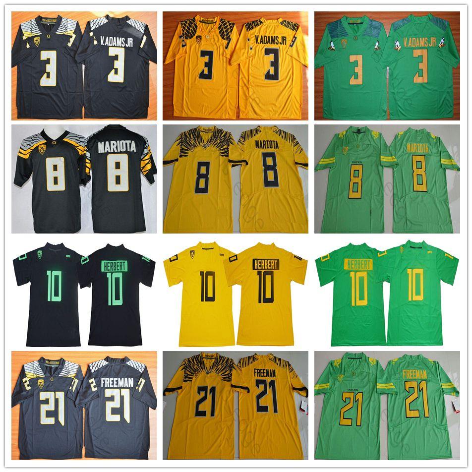 NCAA Oregon Ducks College # 10 Justin Herbert Jersey 3 V.Adams Vernon Adams Jr 8 Marcus Mariota 21 Royce Université Freeman Maillots de football