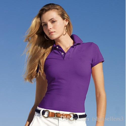 Free shipping New Brand 18 discounted small Horse Solid Short Sleeve Summer 100% cotton women's Polo shirt size S-XL,Drop shipping