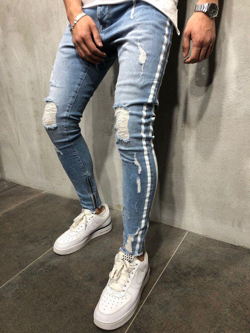 Men Jeans Striped Distressed Long Pencil Jean Pants Spring Autumn Blue Zipper Skinny Denim Trousers Wholesale