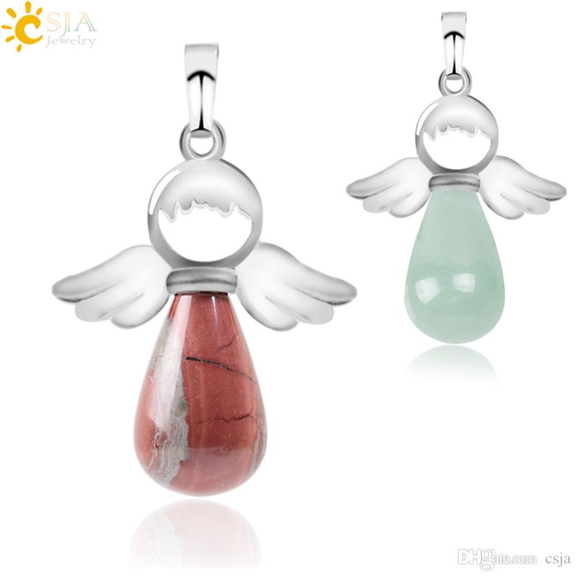 CSJA Fashion Women Pendant Natural Gem Stone Jewelry for Necklace Blue Sand Turquoise Angel Wing Water Drop Girl Gift Free Delivery E949 B