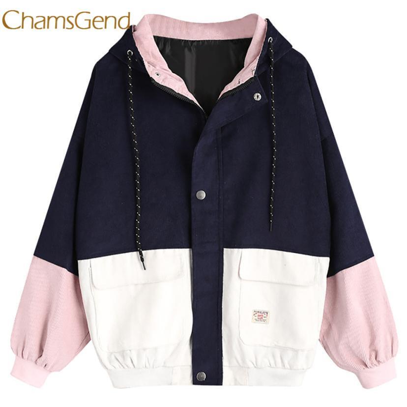 Chamsgend veste femmes hiver Corduroy Patchwork Coupe-Vent À Manches Longues Oversize Zipper Manteau Survêtement Survêtement L1222 S18101203