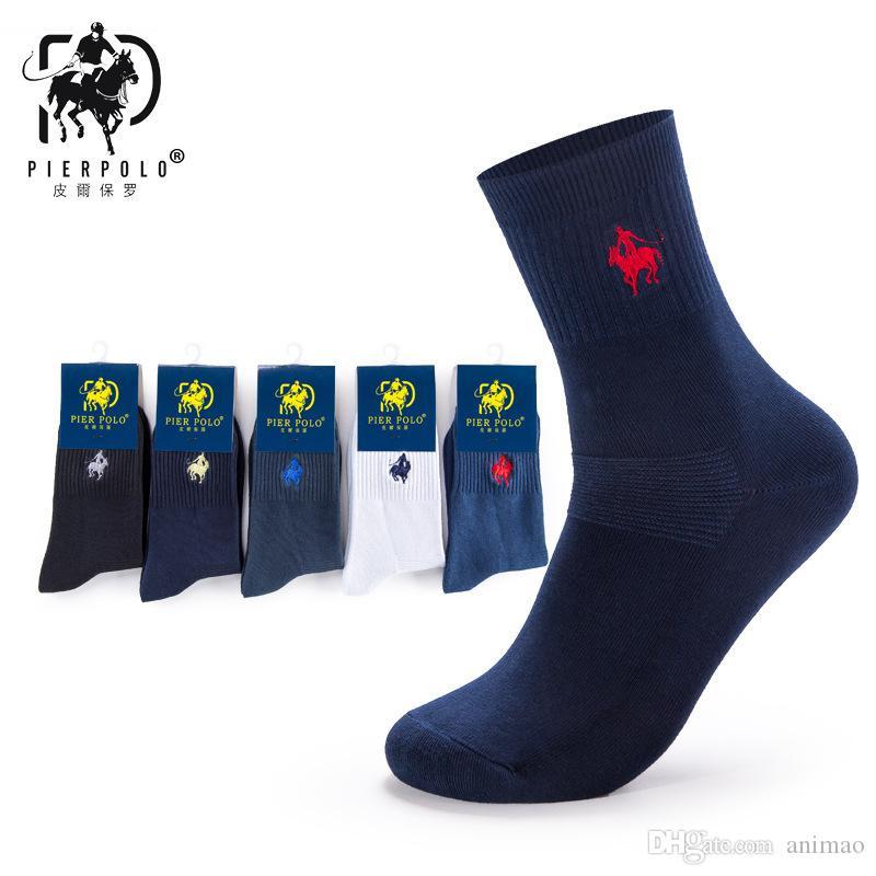 Calcetines calientes del POLO del estilo Calcetines del doble del deporte del bordado del color puro Calcetines del negocio de los hombres del algodón puro