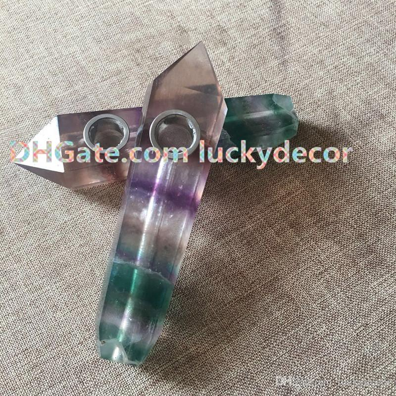 Real Natural Reiki Healing Stone Fluorite Crystal Pipe Purple Green Fluorite Gemstone Pipe Handcarved Crystal Pipe Unique Mother's Day Gift
