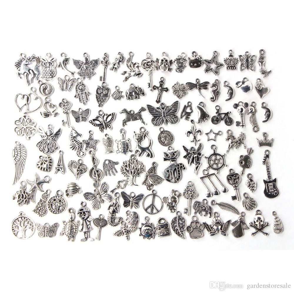 100pcs التي / الكثير مختلطة العتيقة لون الفضة أساور الأوروبي سحر المعلقات الأزياء والمجوهرات جعل نتائج سحر DIY اليدوية