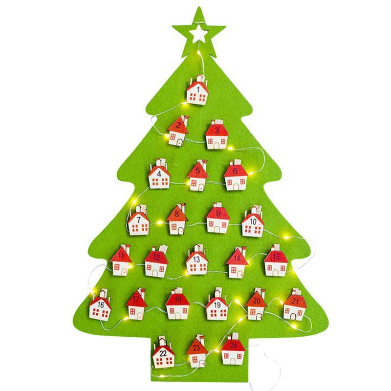 Hanging Felt Christmas Tree Calendar Countdown to Christmas Advent Calendar for Kids Christmas Decorations