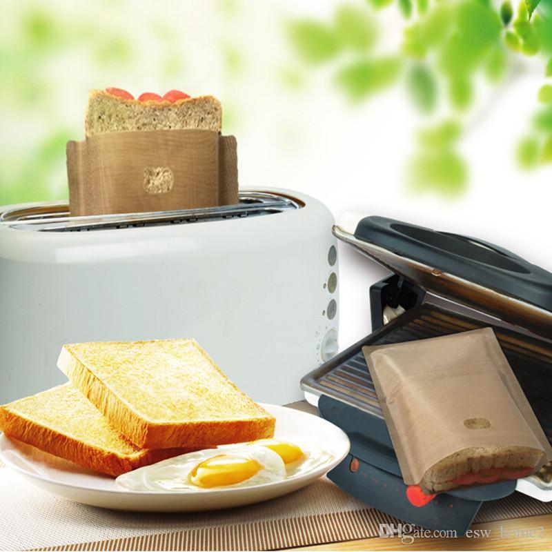 토스터 가방 비 스틱 빵 가방 샌드위치 가방 재사용 가능한 코팅 유리 섬유 토스트 전자 렌지 가열 과자 도구