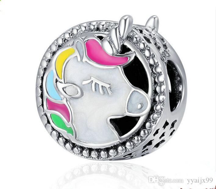 Nouveau Chaud! Unicorn charmes S925 sterling silver fits pour pandora style bracelet diy Charms livraison gratuite