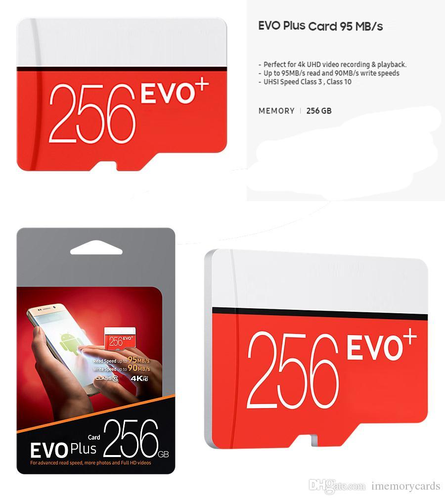 2019 블랙 EVO 플러스 + C10 64gb 128gb 256gb 메모리 카드 TF 메모리 카드 무료 소매 블리스 터 패키지 카메라 pc 전화에 대 한