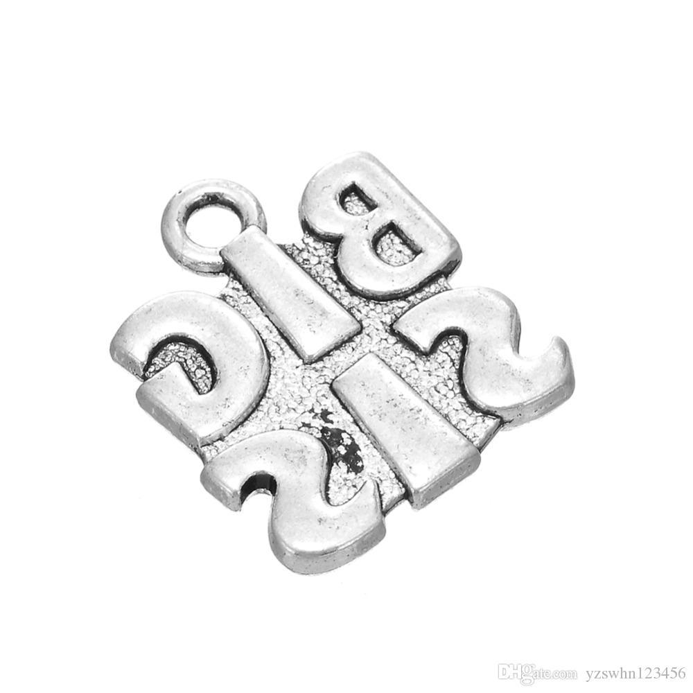 Encanto de la aleación de zinc para la fabricación de joyas hermana pequeña medio hermana mayor abeto Diy pulsera collar llavero regalo