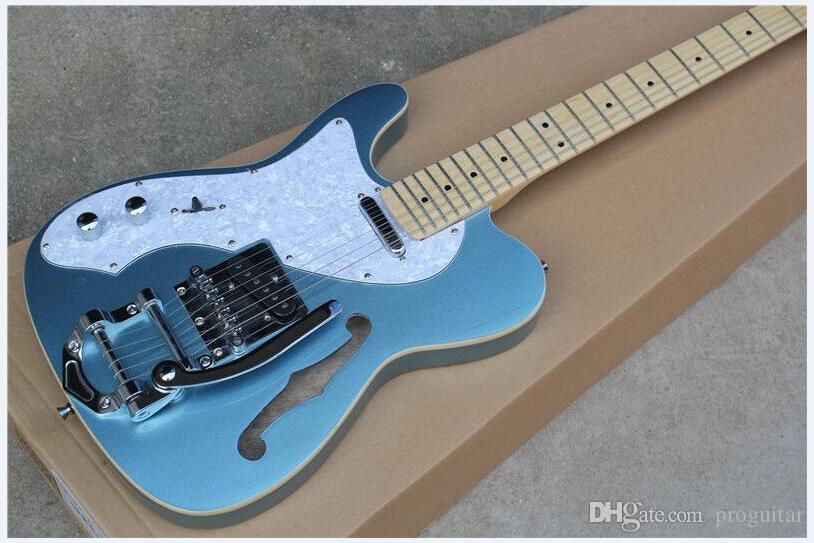 공장 도매 최고 품질 GYTL - 2046 왼손 금속 푸른 색 F 중공 몸 단풍 나무 fretboard 6 문자열 TL 일렉트릭 기타, 무료 배송