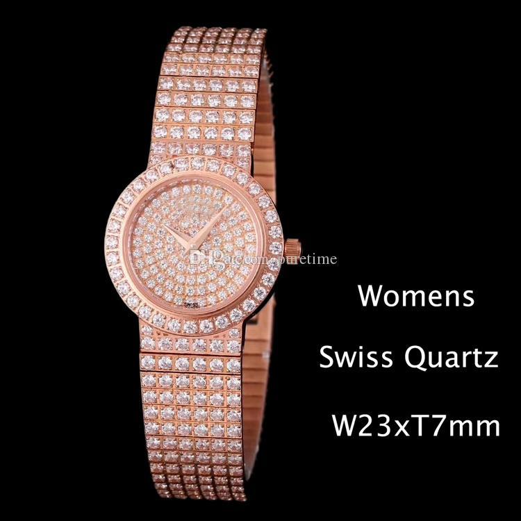 Nouveau Tout Diamond G0A26034 Montres de bijoux Swiss Quartz Womens Womens Bande Diamond Bande Rose Gold Case Spher Qualité Montres bon marché PG34H8