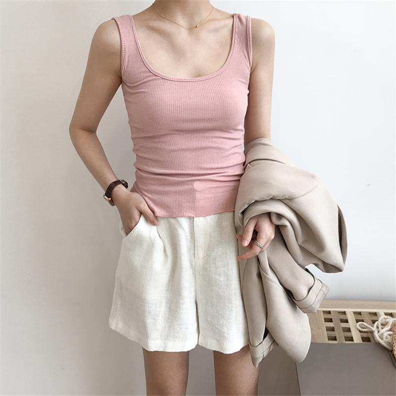 Korea Harajuku 2018 Summer New Sexy Tank Top Women Sleeveless Multicolor Thread Bralette Loose T Shirt Ladies Vest Singlets