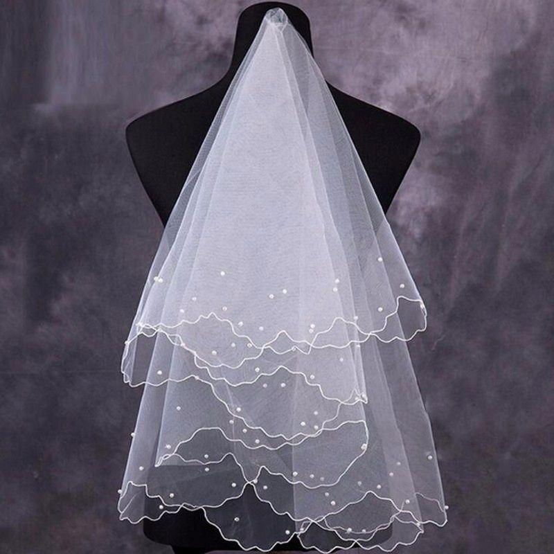 Новое Прибытие Красивые Женщины Жемчужные Bridal Завесы Свадебные Платье Вуаль Слои Тюль Лента кромки Свадебные аксессуары