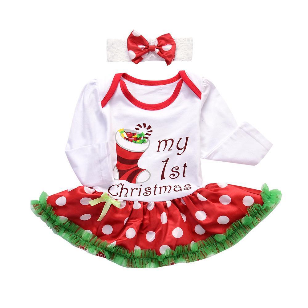 Bebeğin Noel için 3-18 m Yenidoğan Bebek Kız bebek Romper Tutu Elbise mektup Kafa Noel Kıyafetleri Giysi takım hediye p30