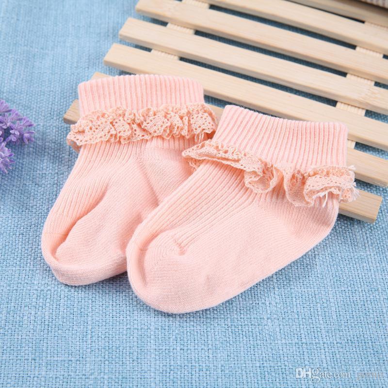 Детские мультфильм хлопок носки новорожденных Весна Lace младенца младенцев сплошного цвета хлопка вертикальной полосой противоскольжения носки