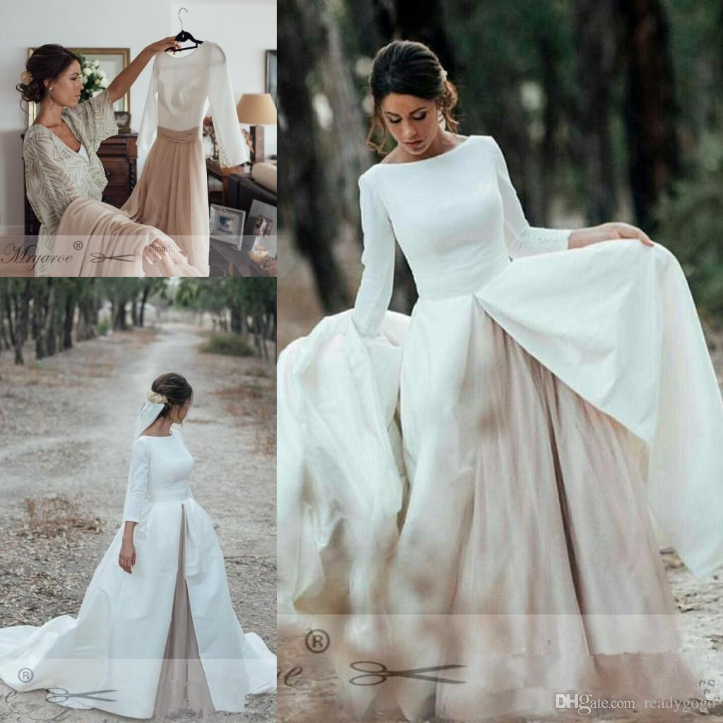 8f2874ce0b6 Simple Elegant Open Back Long Sleeve Wedding Dress Detachable Skirt Chapel  Train Princess country boho blush Wedding Gowns vestido de noiva