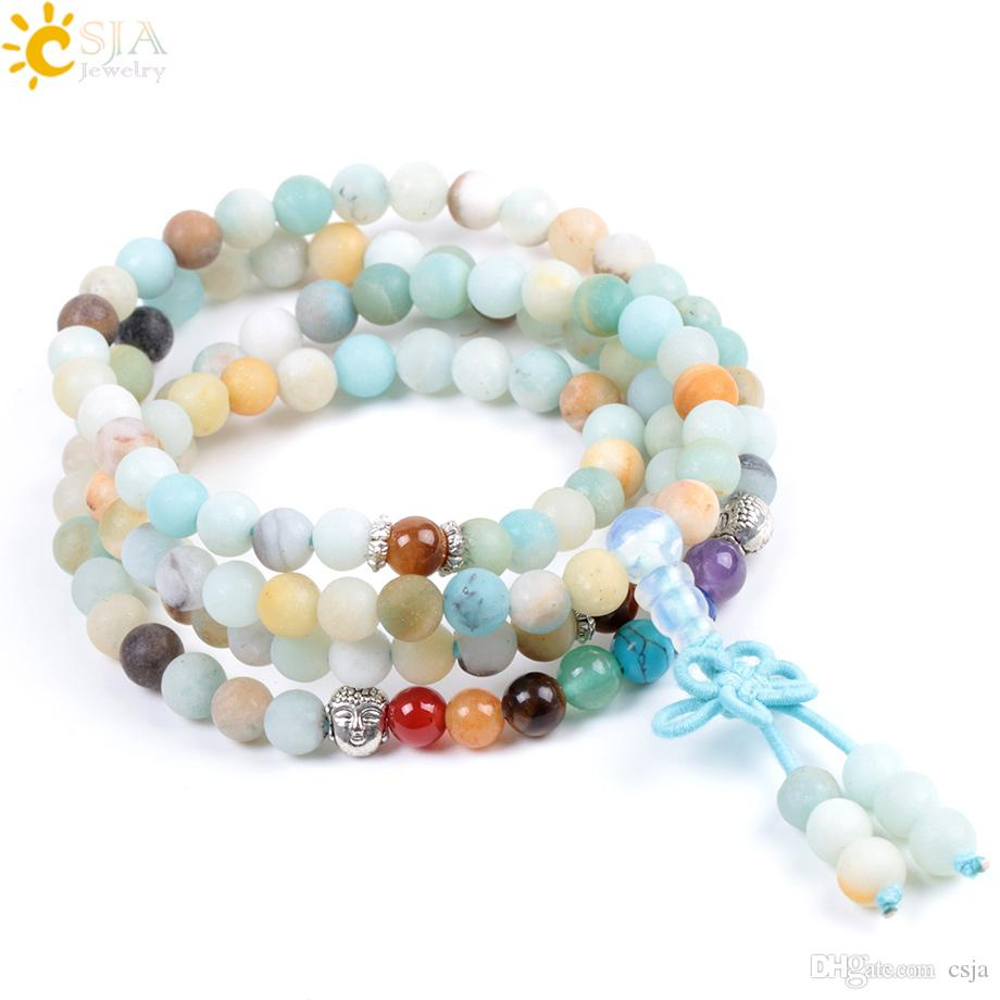 CSJA Chakra Natural Amazonite Stone Bracelet 6mm 108 Prayer Mala Bead Buddha Frosted Matte Beads Bangle or Necklace for Energy Jewelry F040