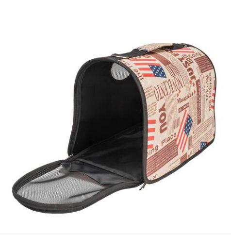 2018 الجملة الحرة الشحن حقيبة يد الناقل الراحة كلب سفر حمل حقيبة براون نمط العلم