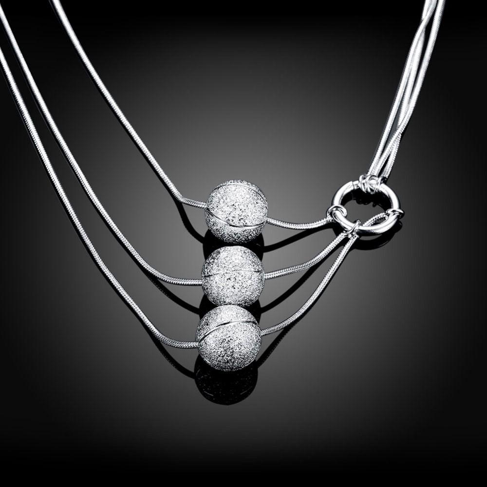 Collana in argento sterling 925 con tre sfere di sabbia collana 17 pollici semplice pendente sferico collana serpente commercio estero N187