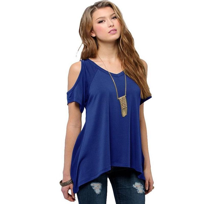여름 루즈 타입 여성 플러스 사이즈 티셔츠 V- 넥 스트랩리스 셔츠 오프 숄더 반소매 티셔츠