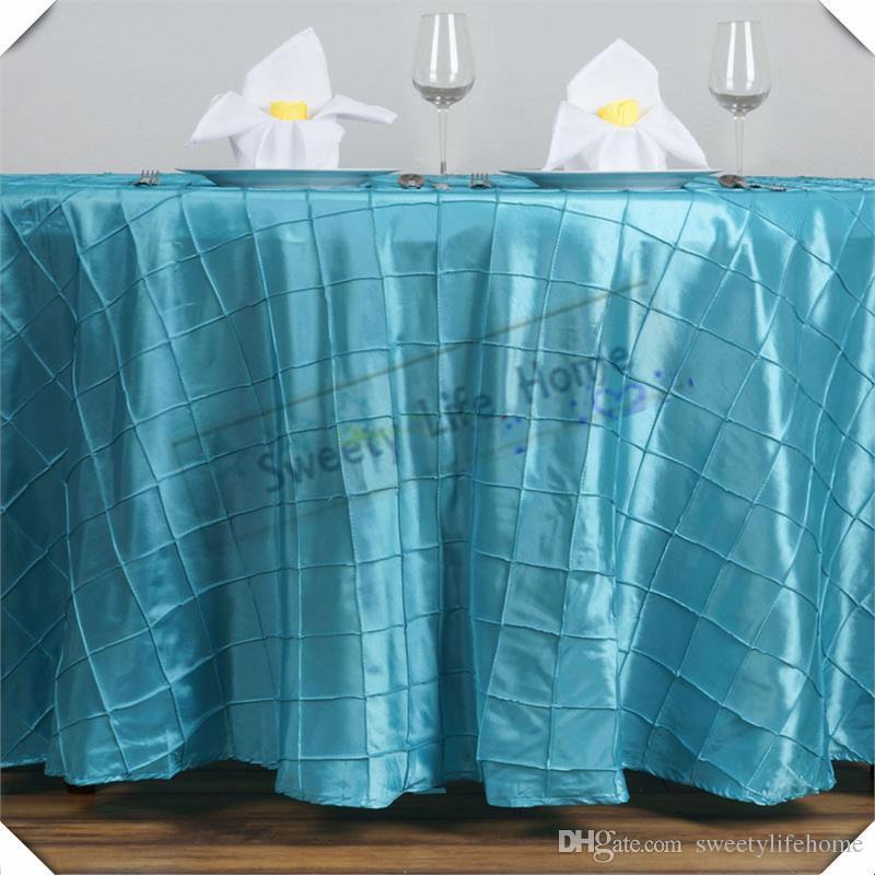 10 pcs Turquoise 120 pouces rond Livraison gratuite Pintuck Taffeta Table nappes treillis Rectangle table couverture pour la décoration de mariage