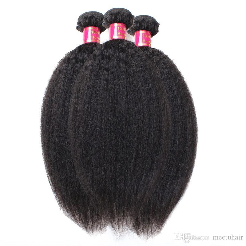 Meilleur Qualité 10A Non Transformés Cheveux Mongols Afro Crépus Droite Extensions D'armure 3Pcs Lot Italien Grossier Yaki Trame De Cheveux Humains