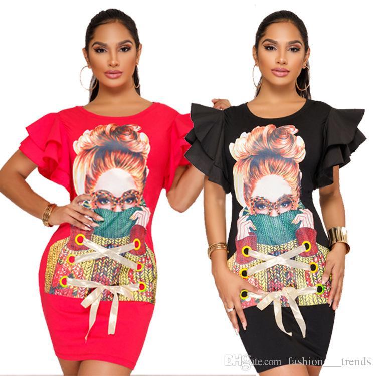 Character Printed Short Sleeve T Shirt Dress Women Dresses Ruffles Sleeve BodyconLadies Casual Mini Dresses Party Night Club Dress Robe New
