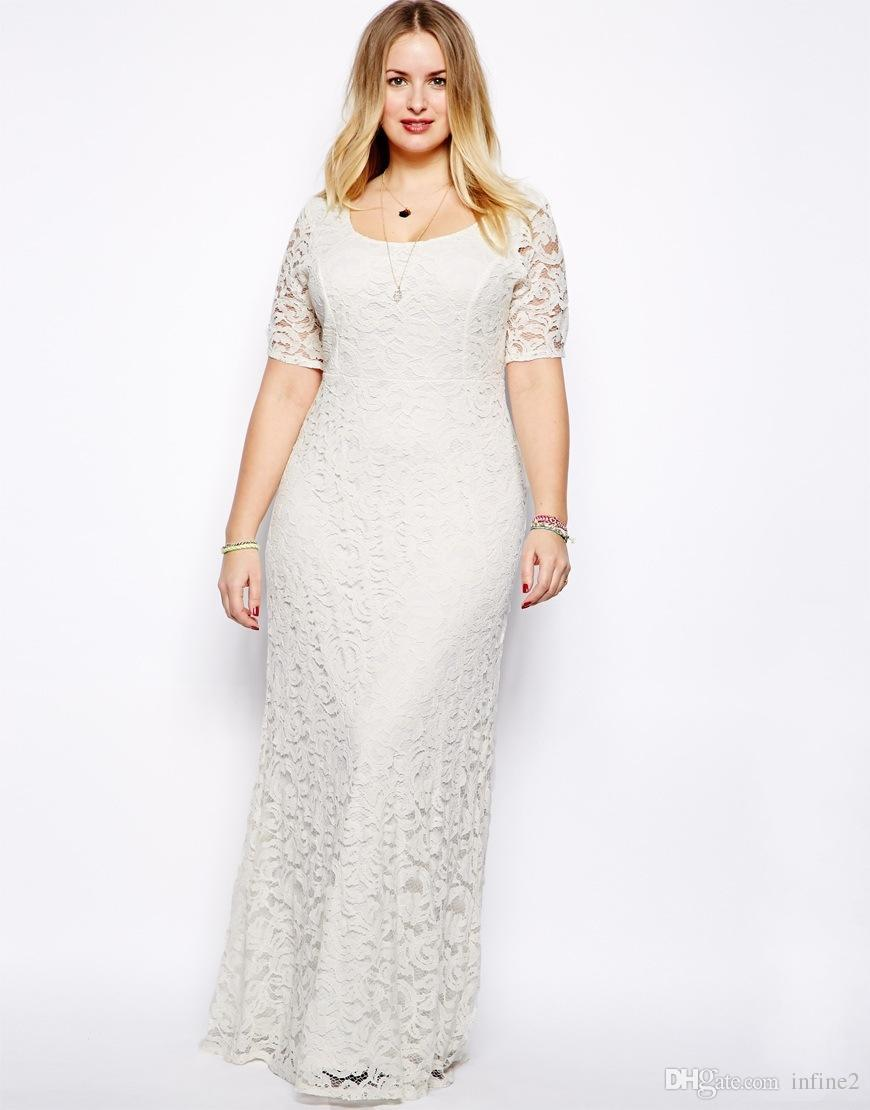 Womens Plus Size Maxi Dress With Sleeves Female Vestidos Long White Lace  Dress 2XL 3XL 4XL 5XL 6XL Fat Women Large Big Size Clothing Black And White  ...