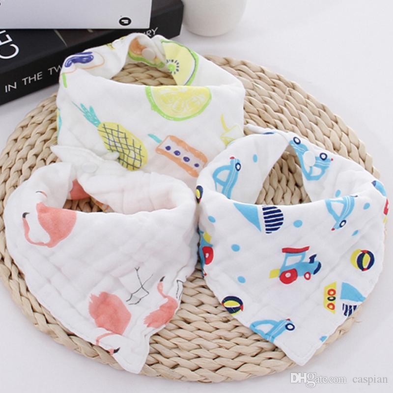 Cartoon Print Triangolo regolabile Bib Baby Bandana Sciarpa Toddler Morbido Morbido Pranzo Traspirante Alimentazione Bib Burp Pannelli Burp Stile Mescola