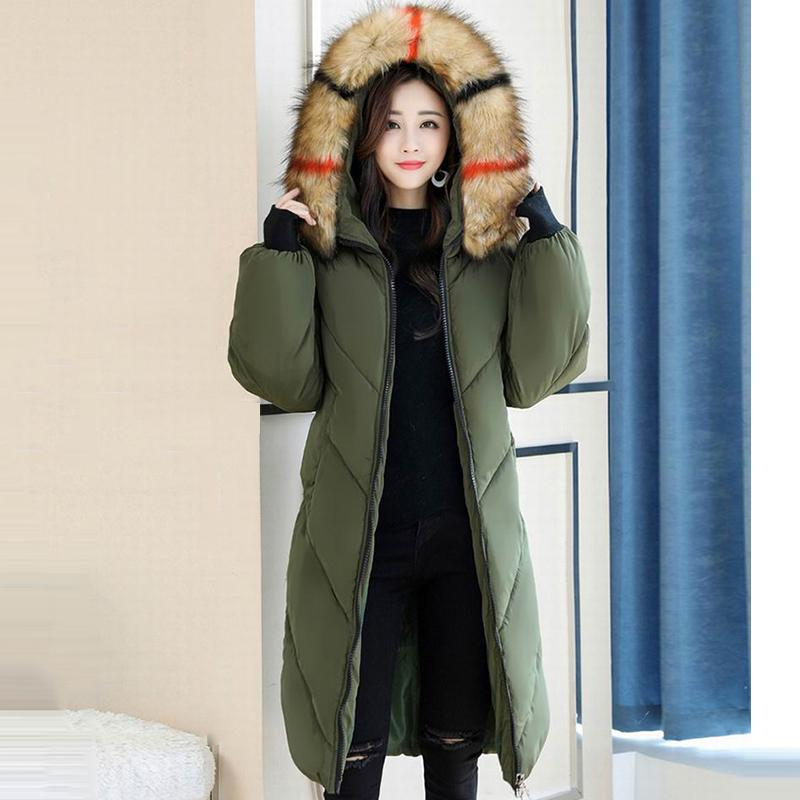 Plus Size 4XL 5XL Womens Winter Jackets Colorful Real Raccoon Fur Collar Down Cotton Padded Female Coat Winter Women Long Parkas