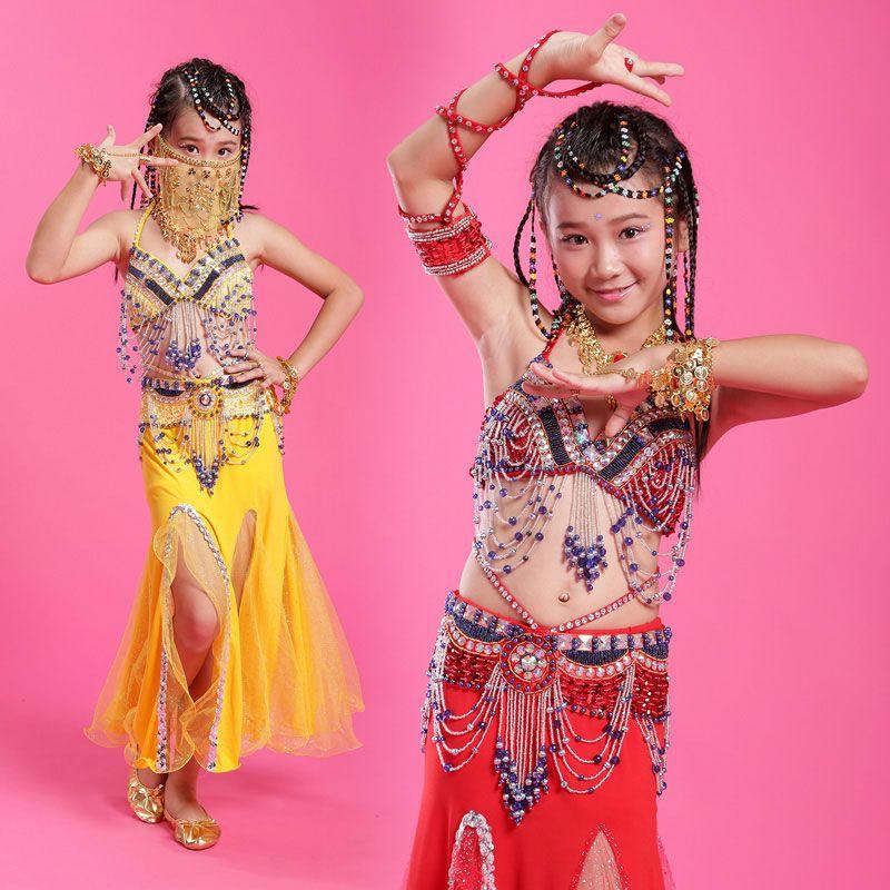 2018 Kızlar / Çocuklar / Çocuklar Hint Oryantal Dans Kostümleri 4 adet (Sutyen + Elbise + Bel Sızdırmazlık + Peçe) Oryantal Dans M / L / XL Kız Oryantal Giyim